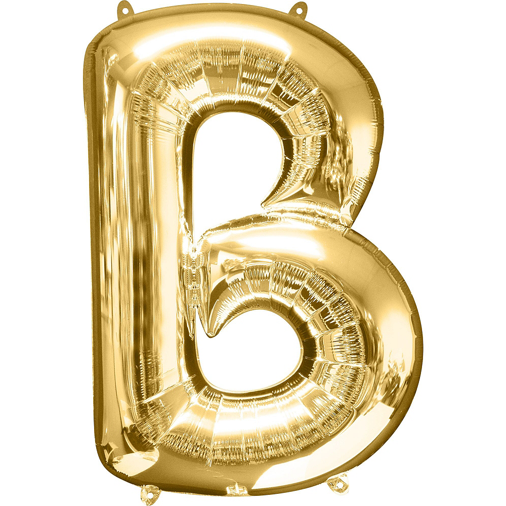34in Gold Boy Letter Balloon Kit Image #3