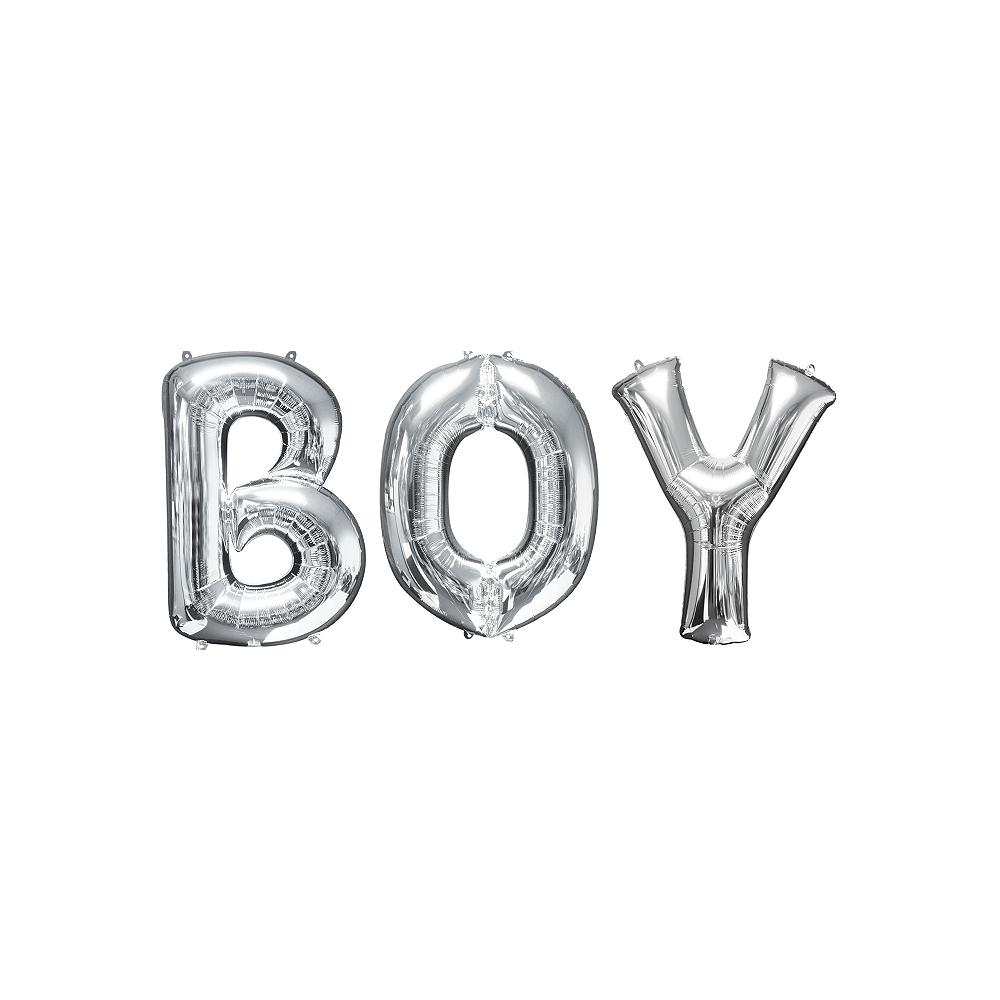 34in Silver Boy Letter Balloon Kit Image #1