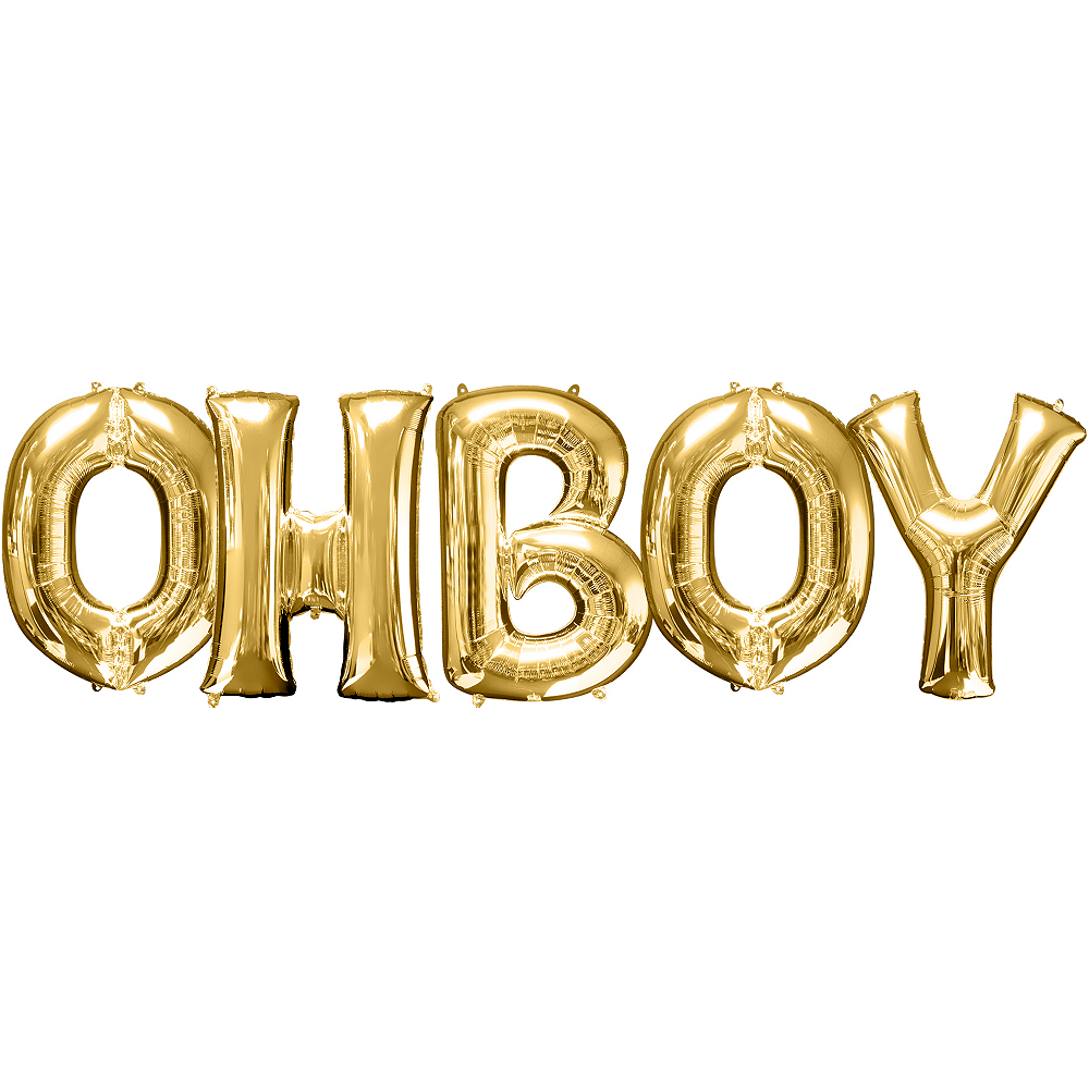 34in Gold Oh Boy Letter Balloon Kit Image #1