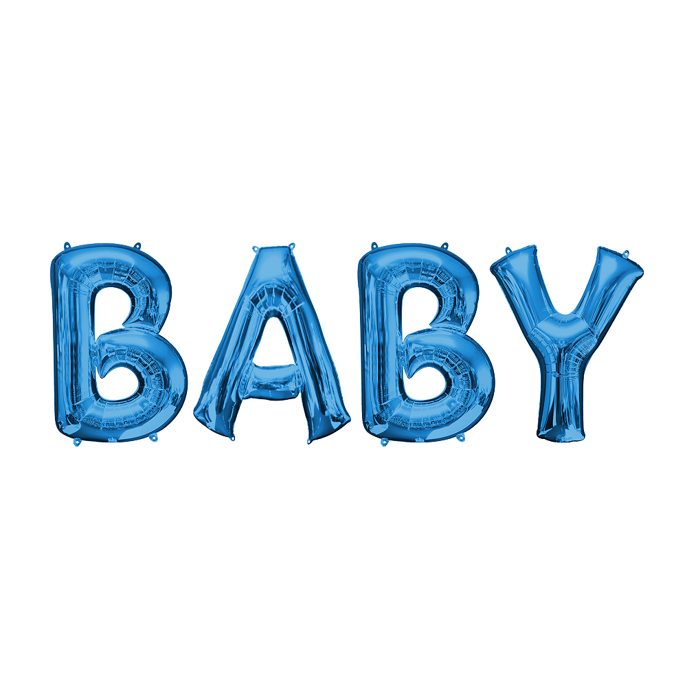 34in Blue Baby Letter Balloon Kit Image #1