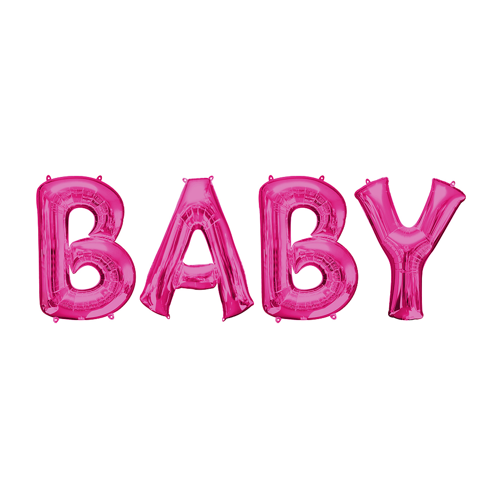 34in Pink Baby Letter Balloon Kit Image #1
