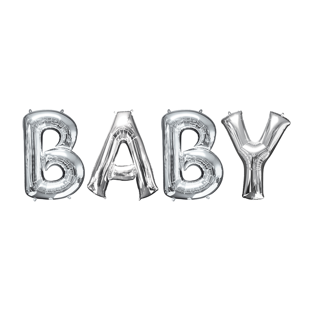 34in Silver Baby Letter Balloon Kit Image #1