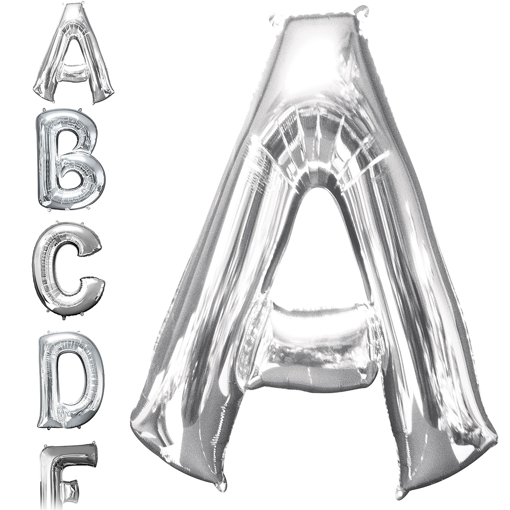 34in Silver Baby Letter Balloon Kit Image #3