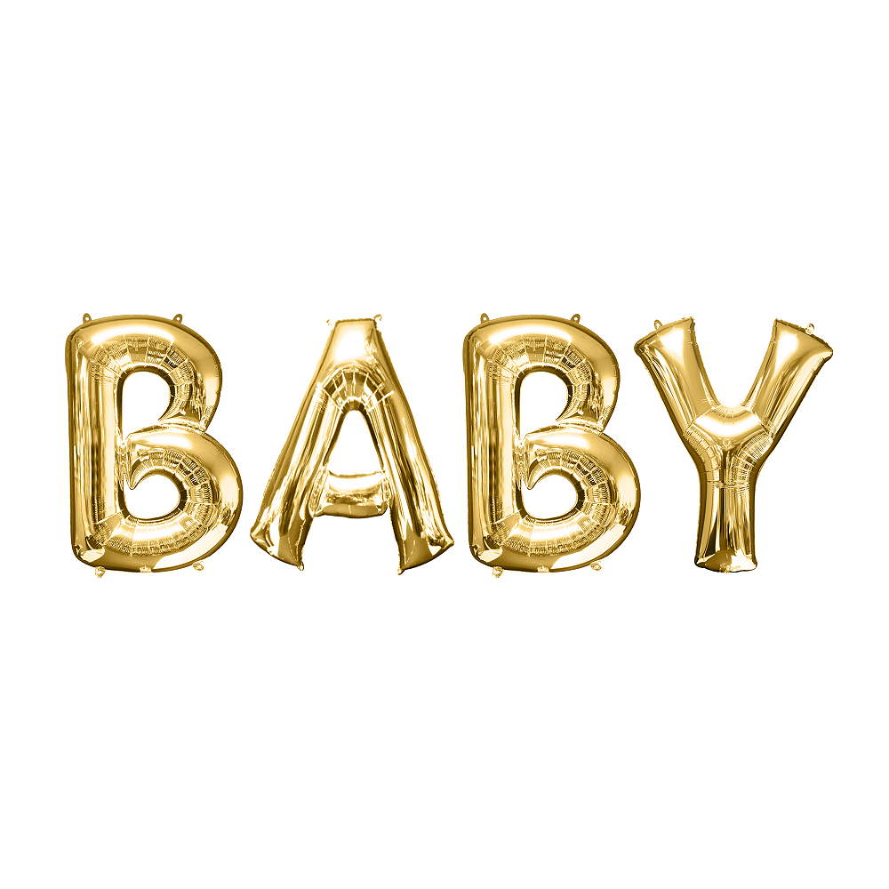 34in Gold Baby Letter Balloon Kit Image #1