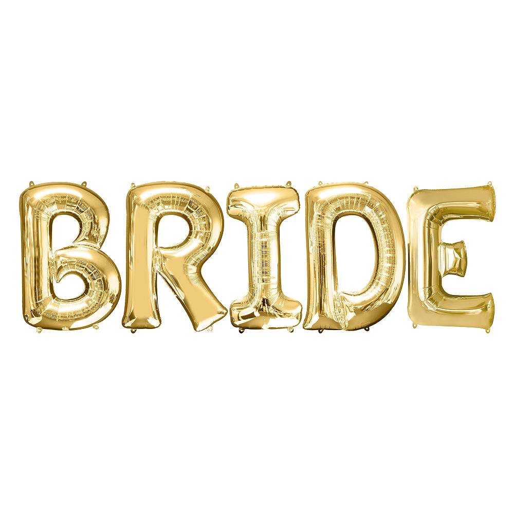 34in Gold Bride Letter Balloon Kit Image #1