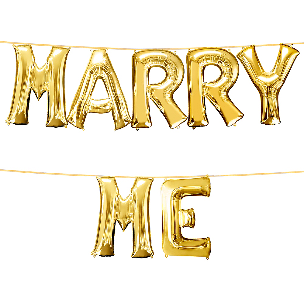 34in Gold Marry Me Letter Balloon Kit Image #1