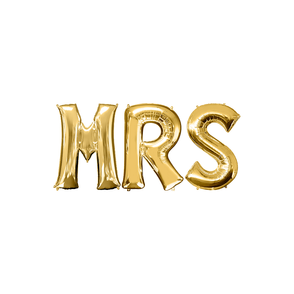 34in Gold Mrs Letter Balloon Kit Image #1