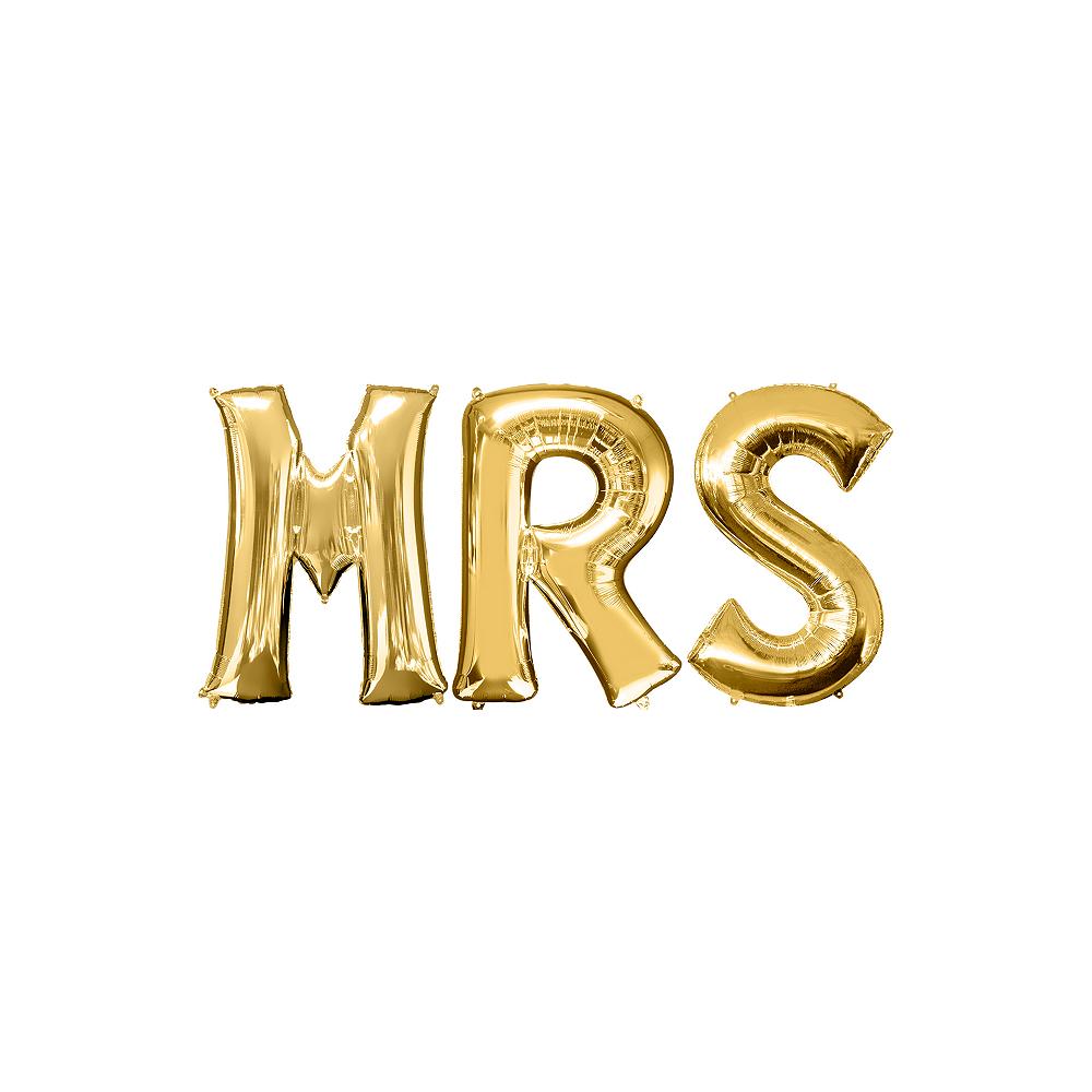 34in Gold Mrs Letter Balloon Kit Image #1