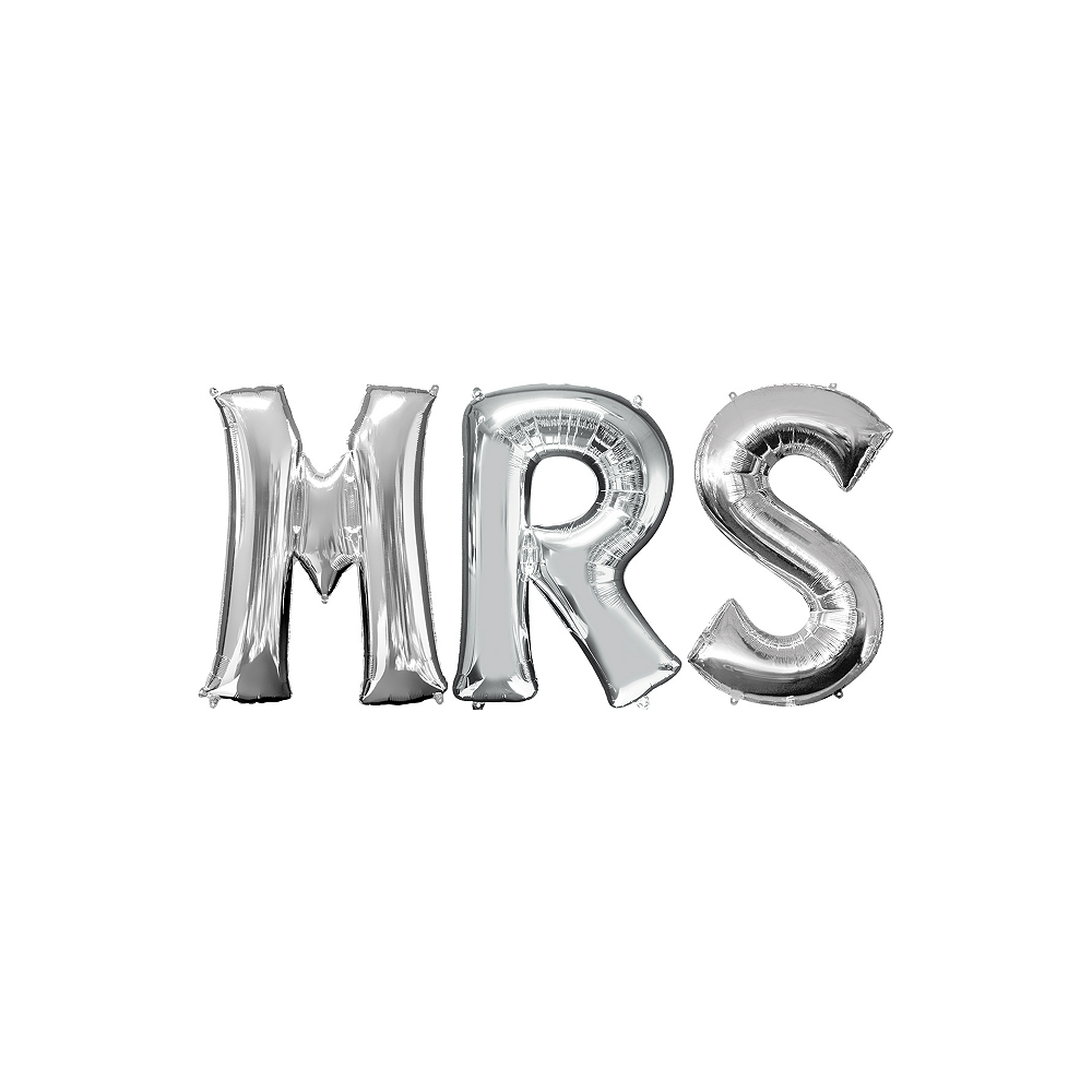 34in Silver Mrs Letter Balloon Kit Image #1