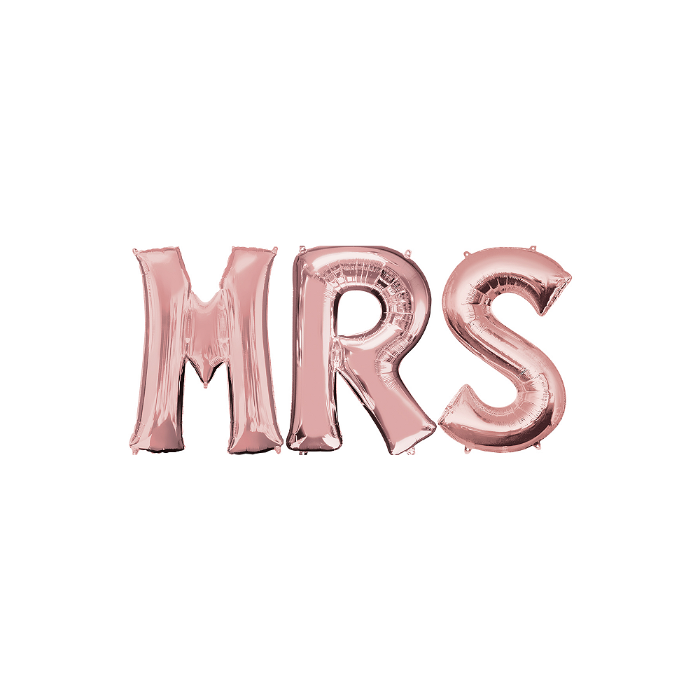 34in Rose Gold Mrs Letter Balloon Kit Image #1