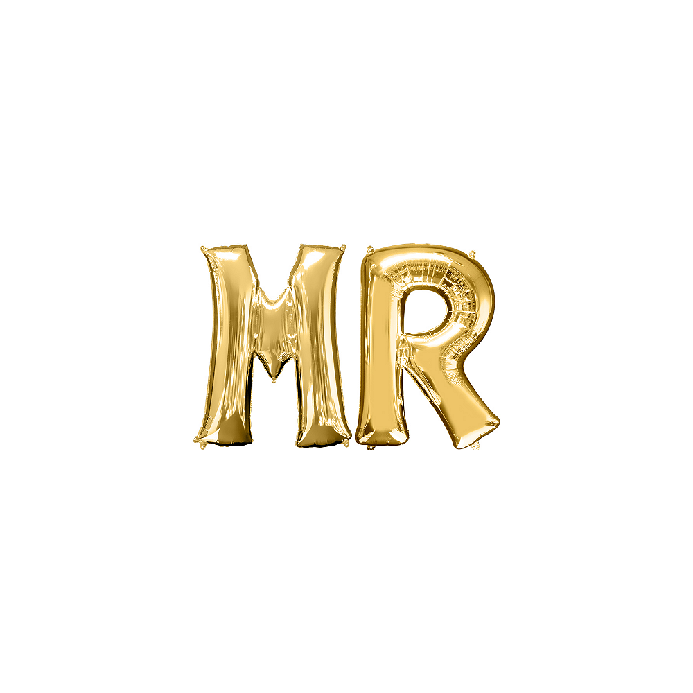 34in Gold Mr Letter Balloon Kit Image #1