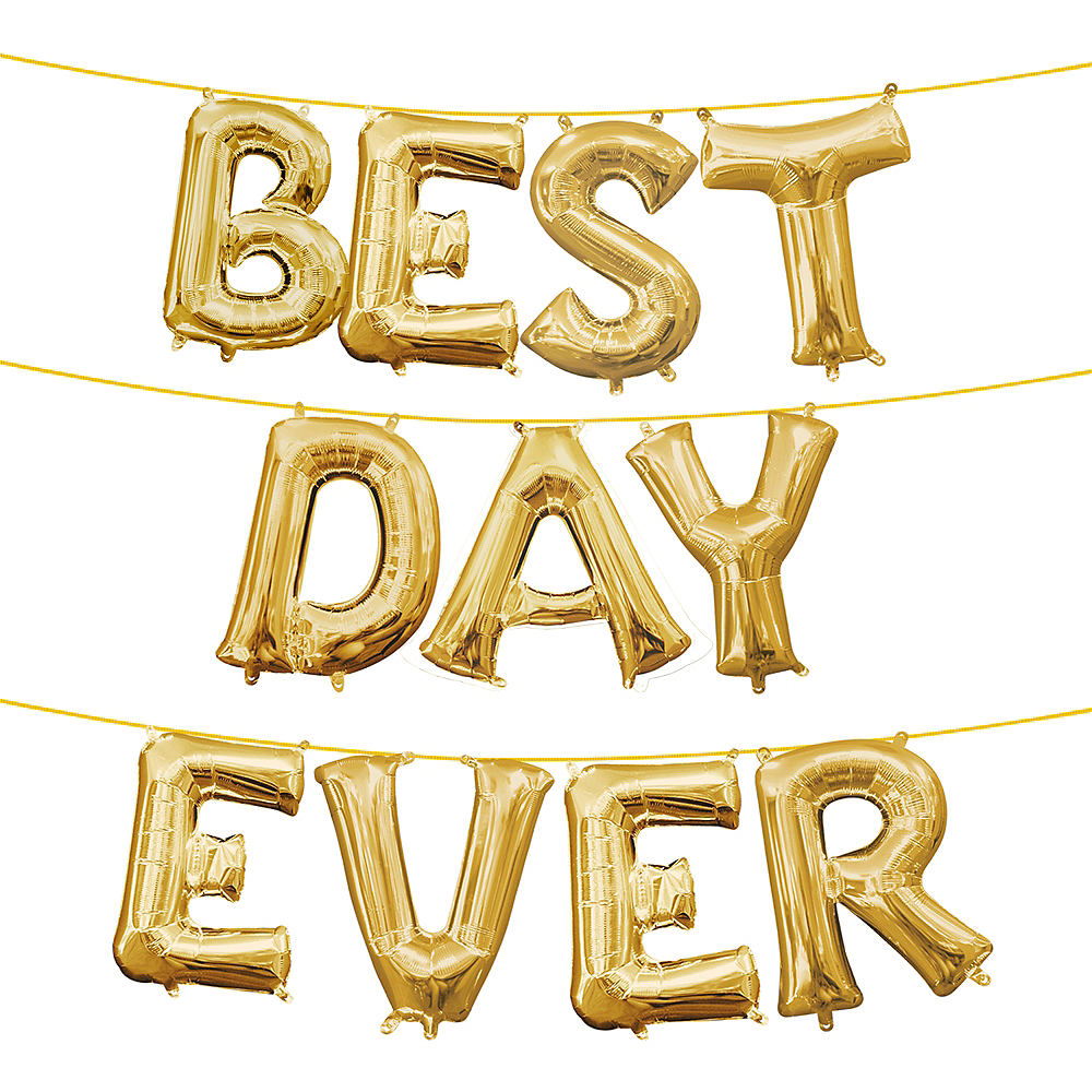 13in Air-Filled Gold Best Day Ever Letter Balloon Kit Image #1