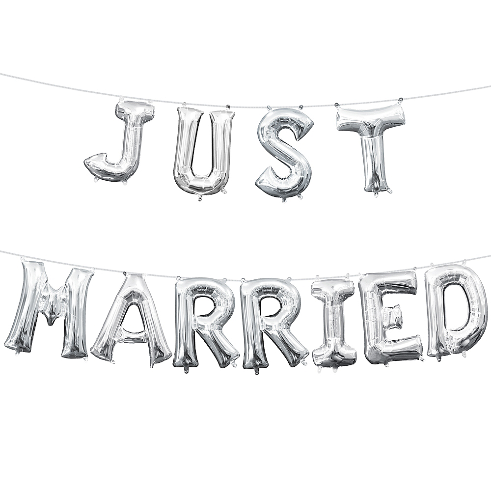 13in Air-Filled Silver Just Married Letter Balloon Kit Image #1