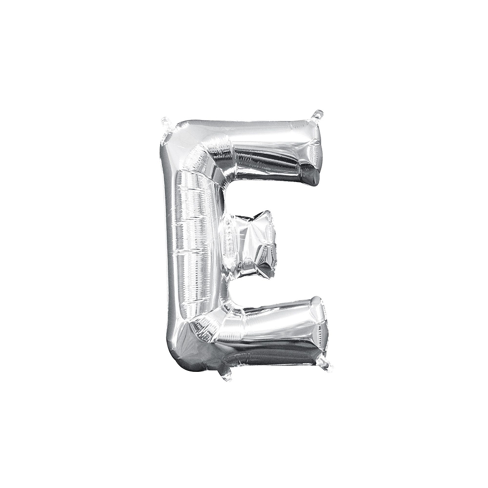 13in Air-Filled Silver Just Married Letter Balloon Kit Image #4