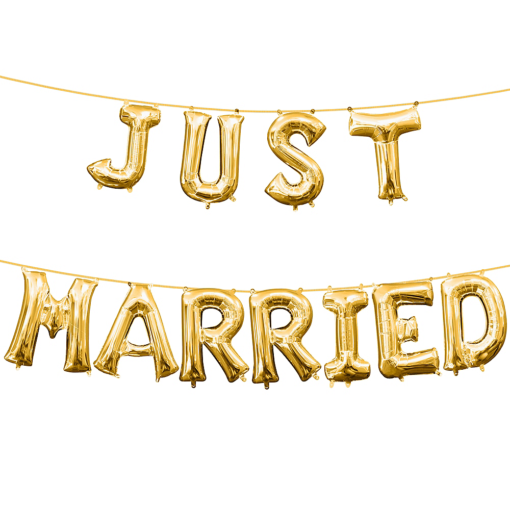13in Air-Filled Gold Just Married Letter Balloon Kit Image #1