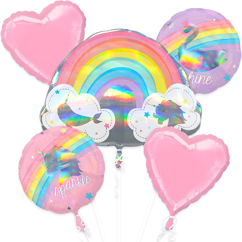 Magical Rainbow Birthday Balloon Bouquet 5pc Image #1