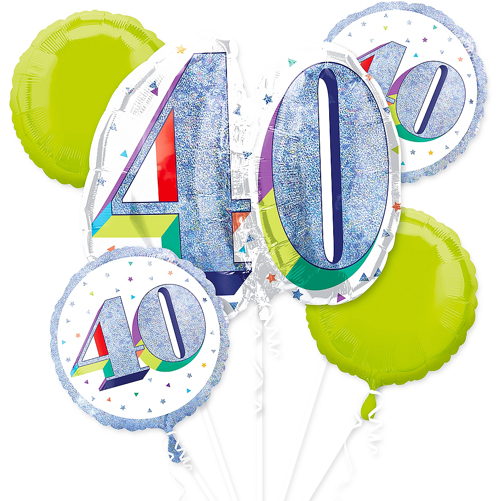 Prismatic Here's to Your 40th Birthday Balloon Bouquet 5pc Image #1