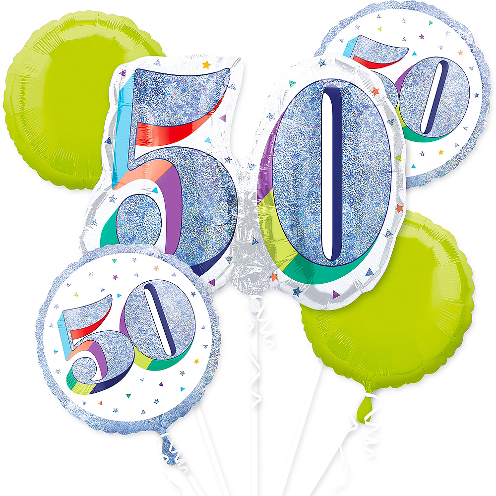 Prismatic Here's to Your 50th Birthday Balloon Bouquet 5pc Image #1