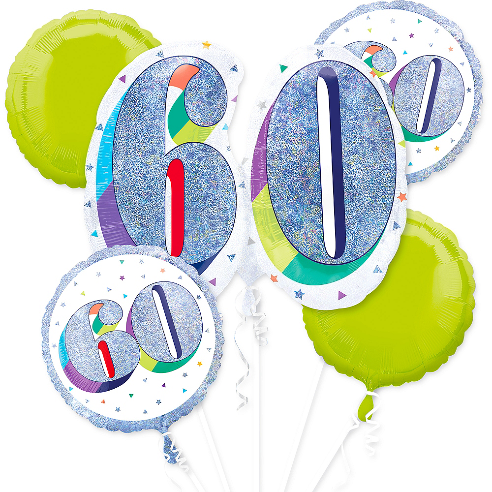 Nav Item for Prismatic Here's to Your 60th Birthday Balloon Bouquet 5pc Image #1