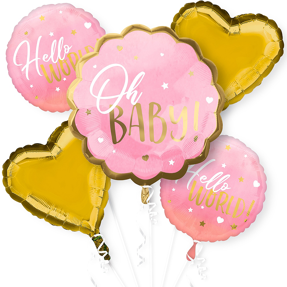 Pink Oh Baby Baby Shower Balloon Bouquet 5pc Image #1