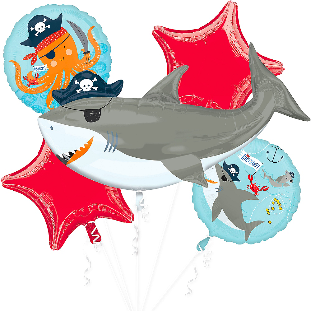 Nav Item for Pirate Shark Balloon Bouquet 5pc Image #1
