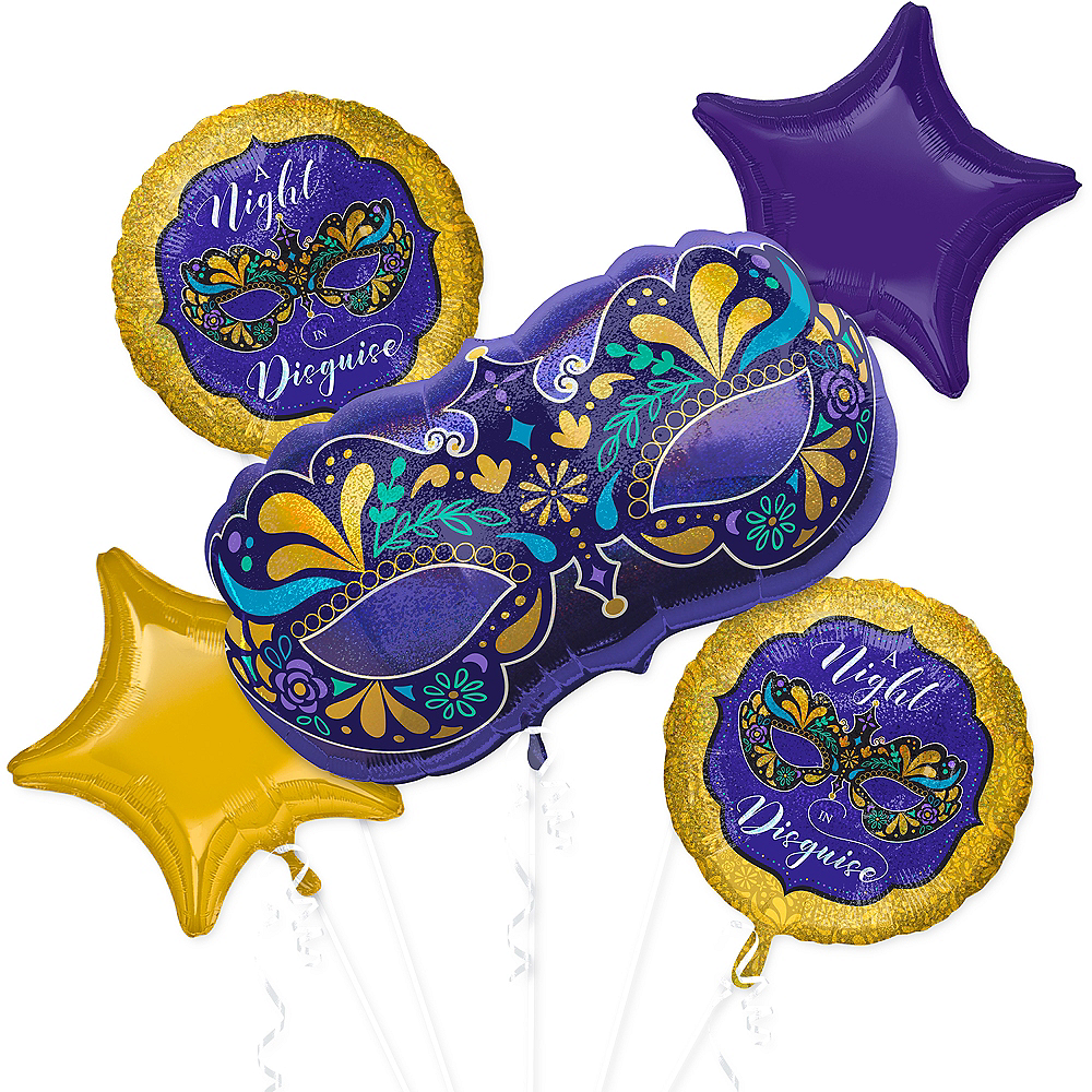 A Night in Disguise Masquerade Balloon Bouquet 5pc Image #1