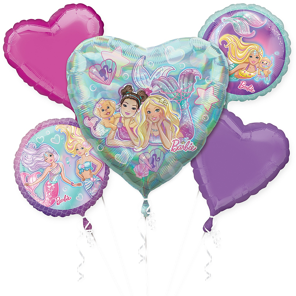 Mermaid Barbie Balloon Bouquet 5pc Image #1