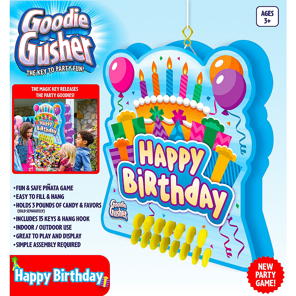 Goodie Gusher Blue Birthday Cake Pinata Image #2