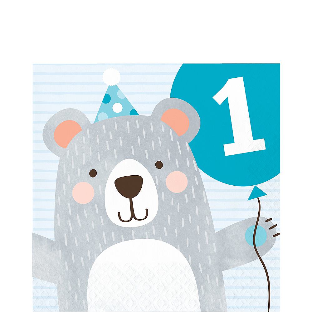 Beary Cute 1st Birthday Lunch Napkins 16ct Image #1