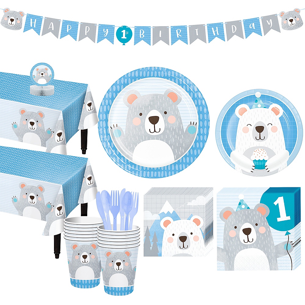 Beary Cute 1st Birthday Tableware Kit for 16 Guests Image #1