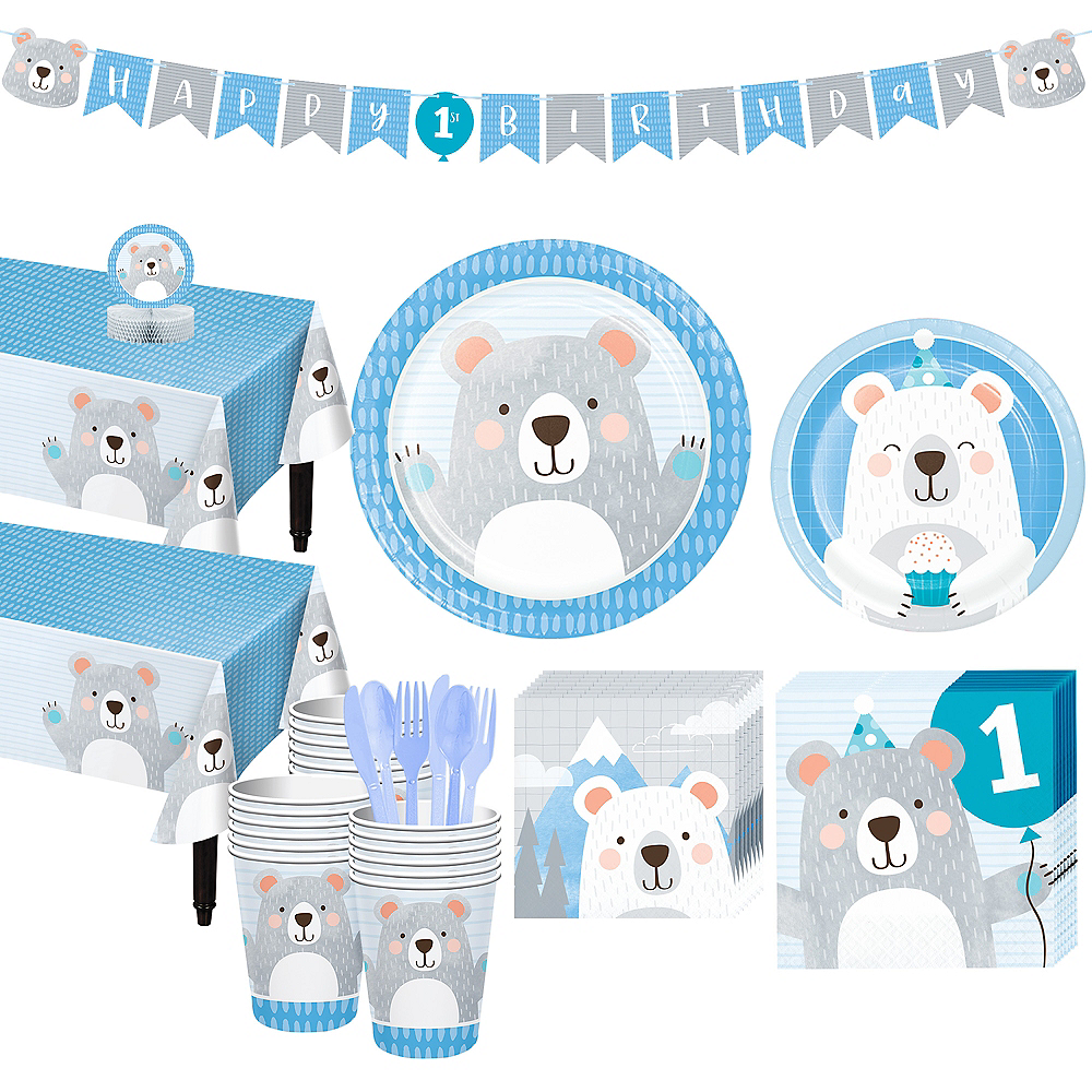 Beary Cute 1st Birthday Tableware Kit for 32 Guests Image #1