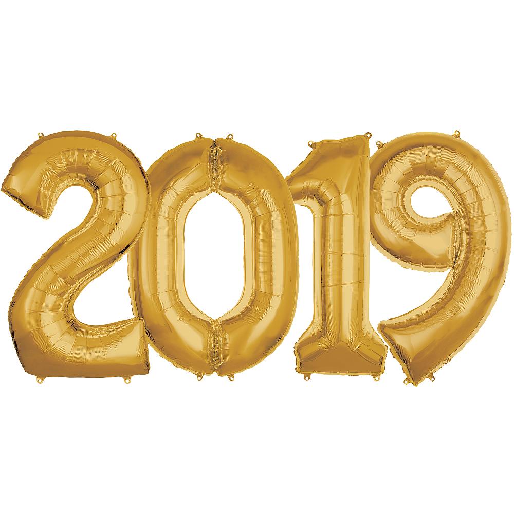 Giant Gold 2019 Number Balloon Kit Image #1