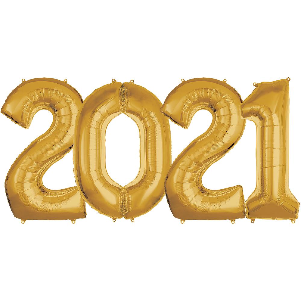Giant Gold 2021 Number Balloon Kit Image #1