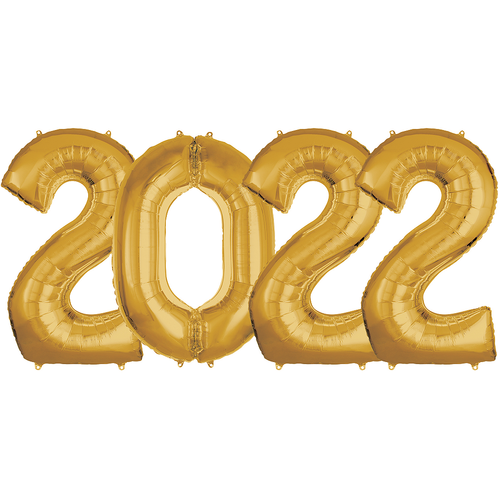 Giant Gold 2022 Number Balloon Kit Image #1
