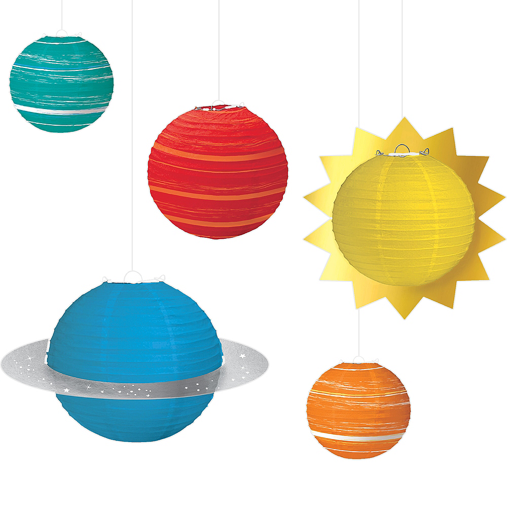 Blast Off Planet Paper Lanterns 5ct Image #1