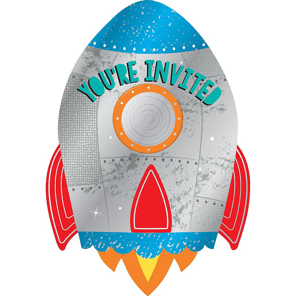 Blast Off Rocket Invitations 8ct Image #1