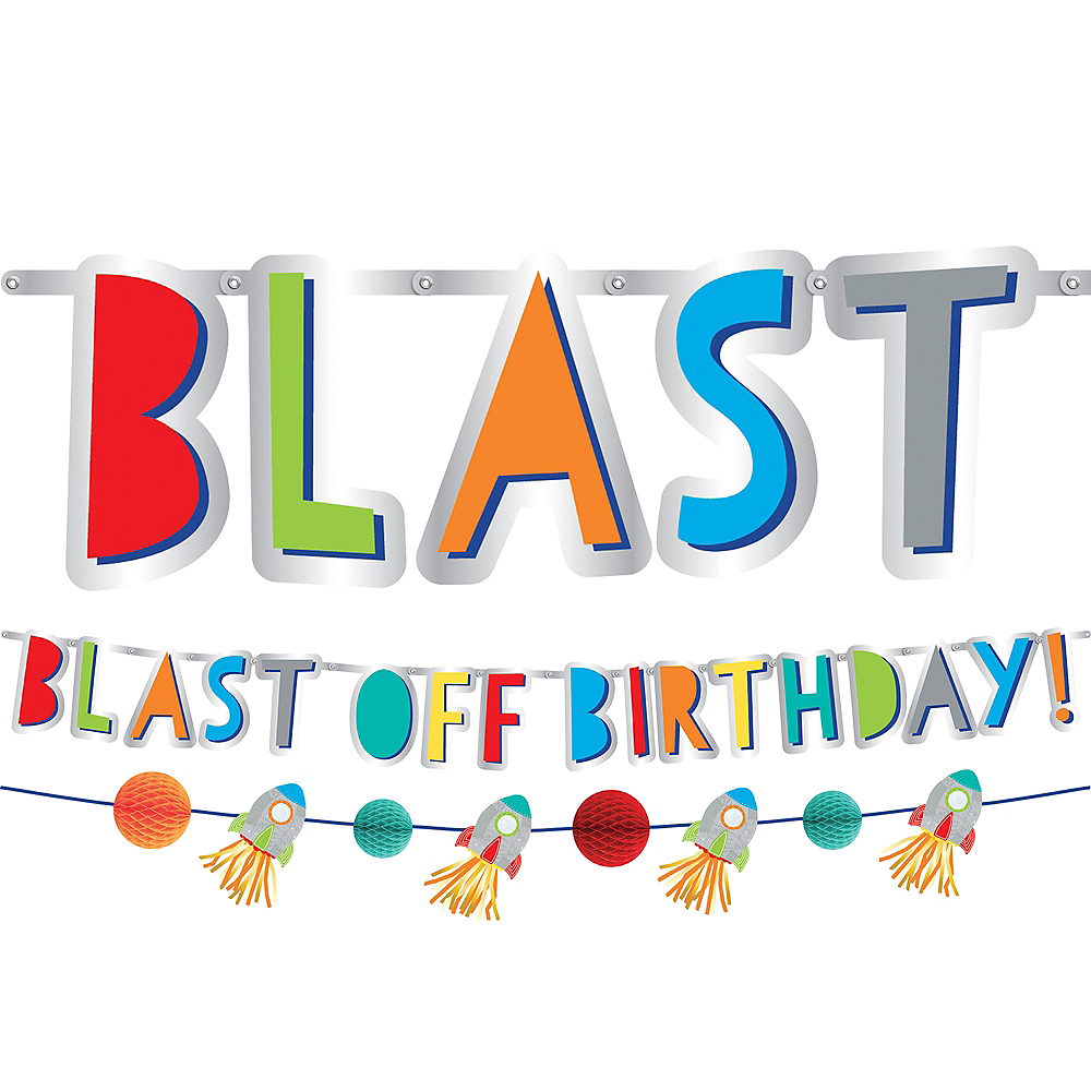 Blast Off Birthday Banners 2ct Image #1