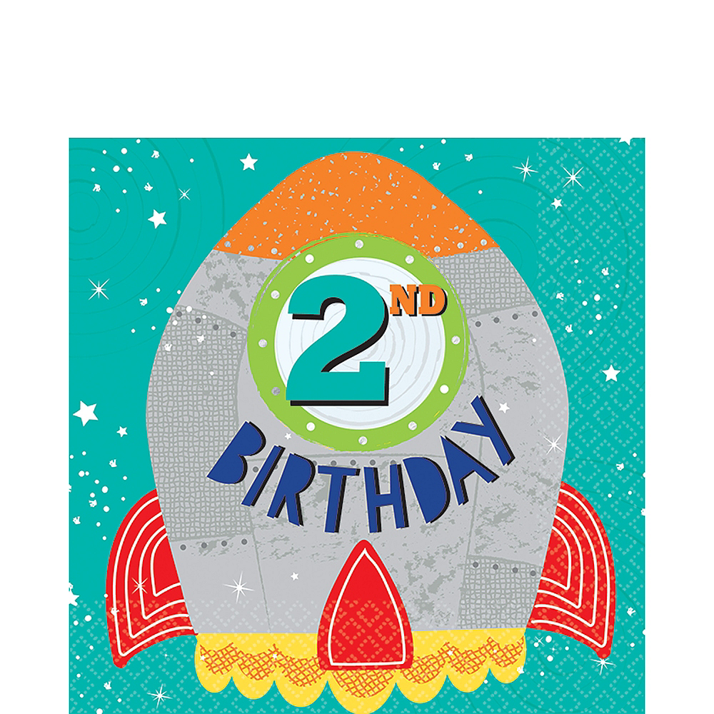 Blast Off 2nd Birthday Lunch Napkins 16ct Image #1