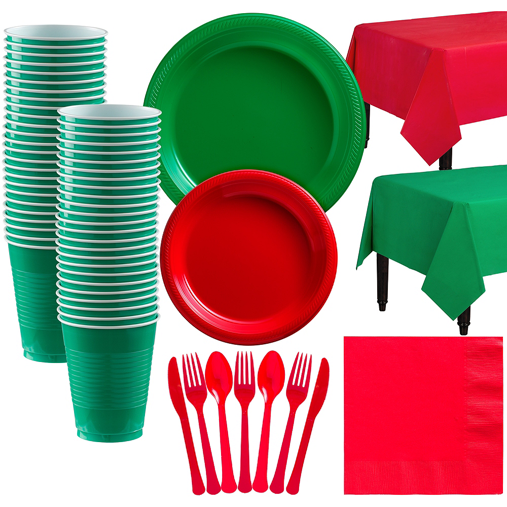 Red & Festive Green Plastic Tableware Kit for 50 Guests Image #1