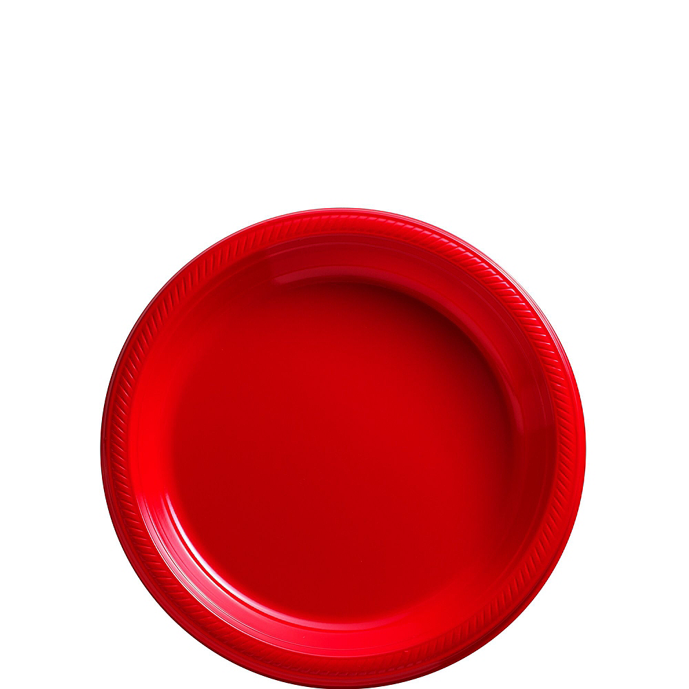 Red & Festive Green Plastic Tableware Kit for 50 Guests Image #2