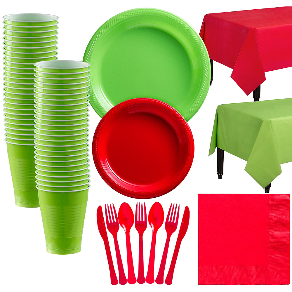 Red & Kiwi Green Plastic Tableware Kit for 50 Guests Image #1