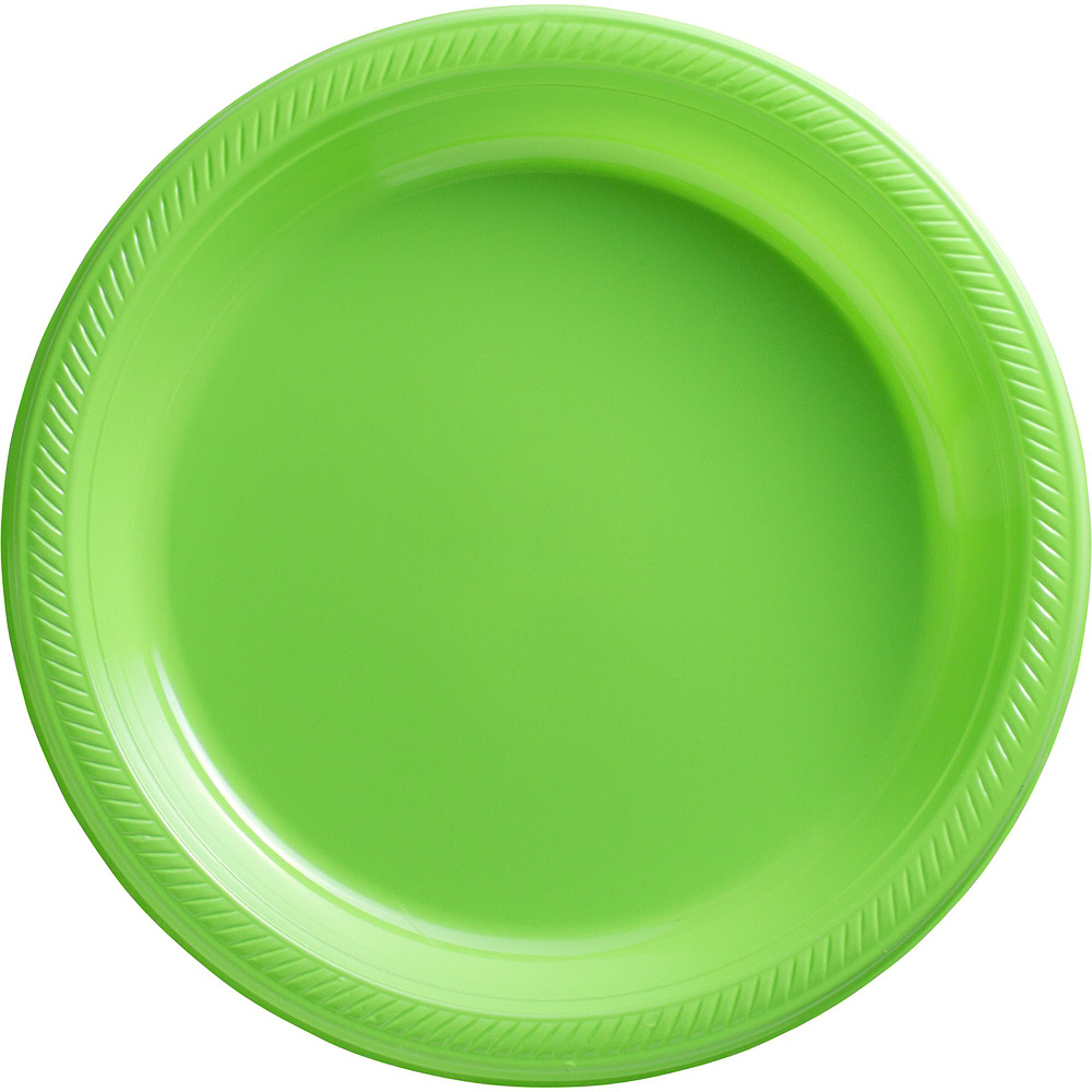 Red & Kiwi Green Plastic Tableware Kit for 50 Guests Image #3