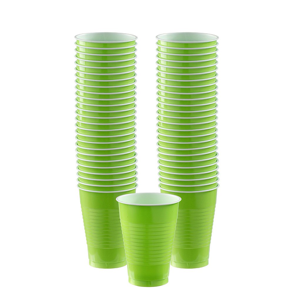 Red & Kiwi Green Plastic Tableware Kit for 50 Guests Image #5