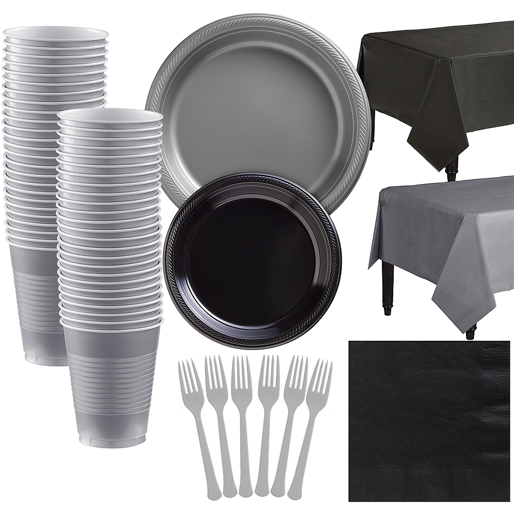 Black & Silver Plastic Tableware Kit for 50 Guests Image #1