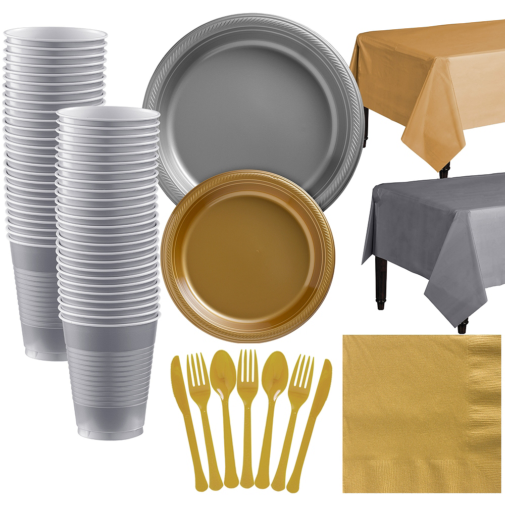 Gold & Silver Plastic Tableware Kit for 50 Guests Image #1