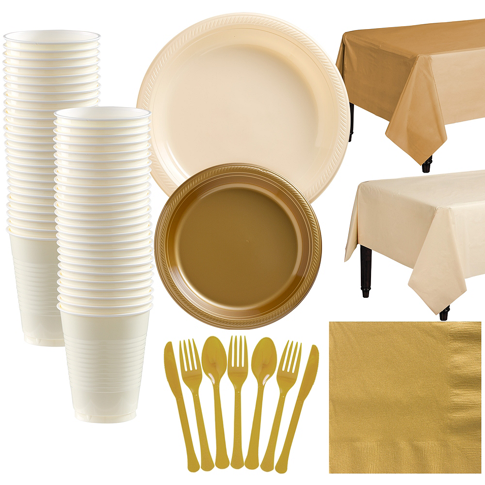 Vanilla & Gold Plastic Tableware Kit for 50 Guests Image #1