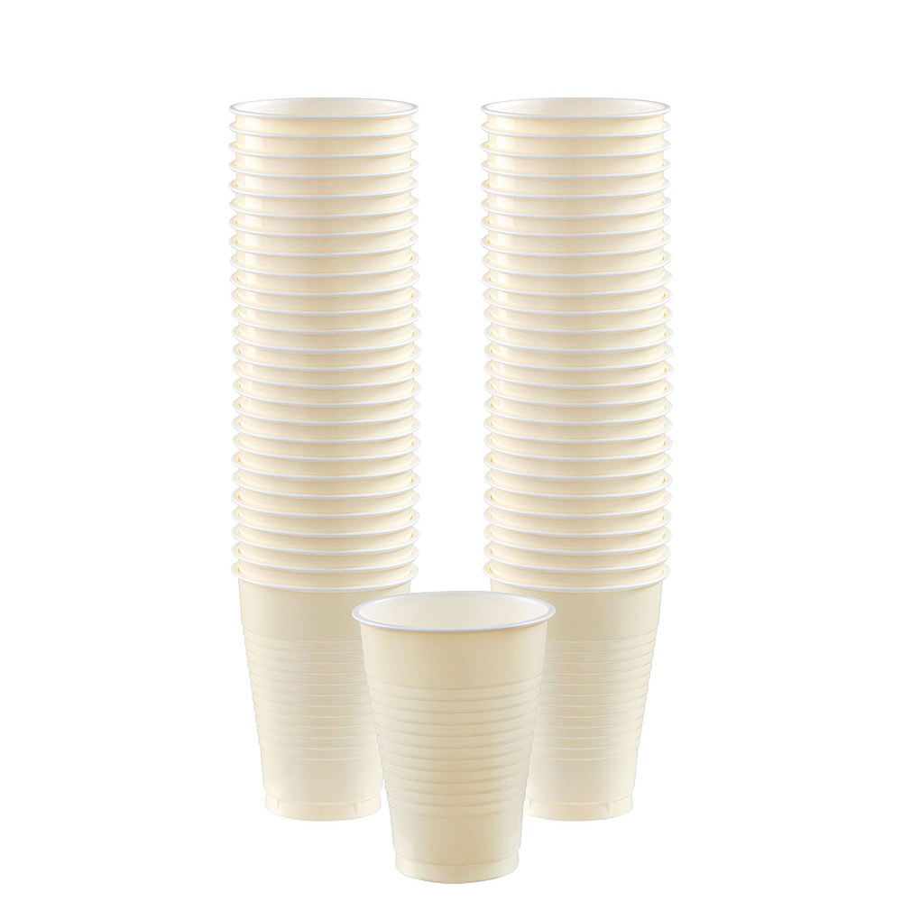 Vanilla & Gold Plastic Tableware Kit for 50 Guests Image #5