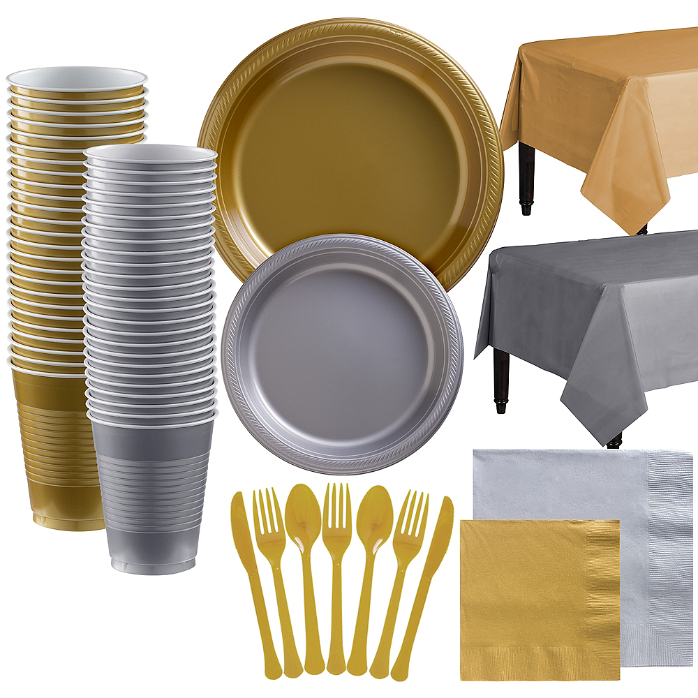 Gold & Silver Plastic Tableware Kit for 100 Guests Image #1