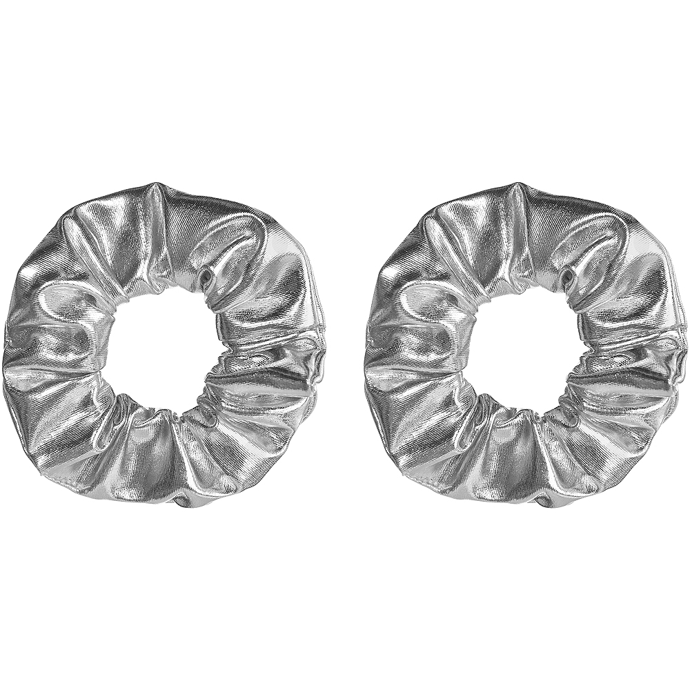 Silver Hair Scrunchies 2ct Image #1