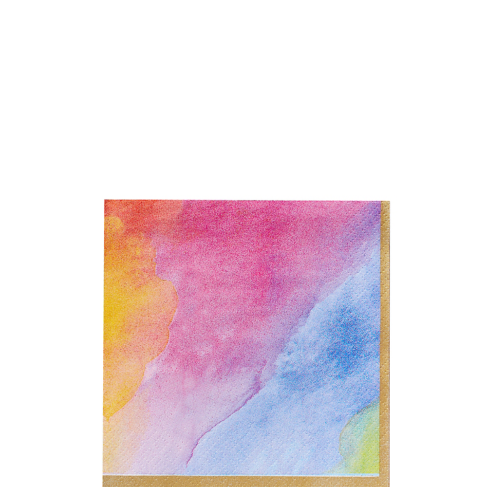 Watercolor Rainbow Beverage Napkins 16ct Image #1